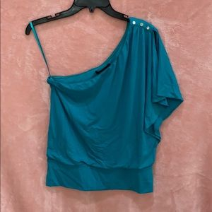 White House Black Market one shoulder teal top SzS